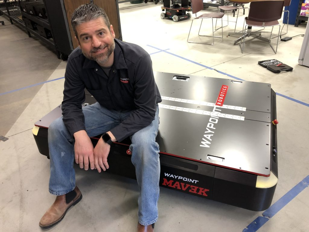 Waypoint Robotics CEO Jason Walker and the new MAV3K mobile robot.
